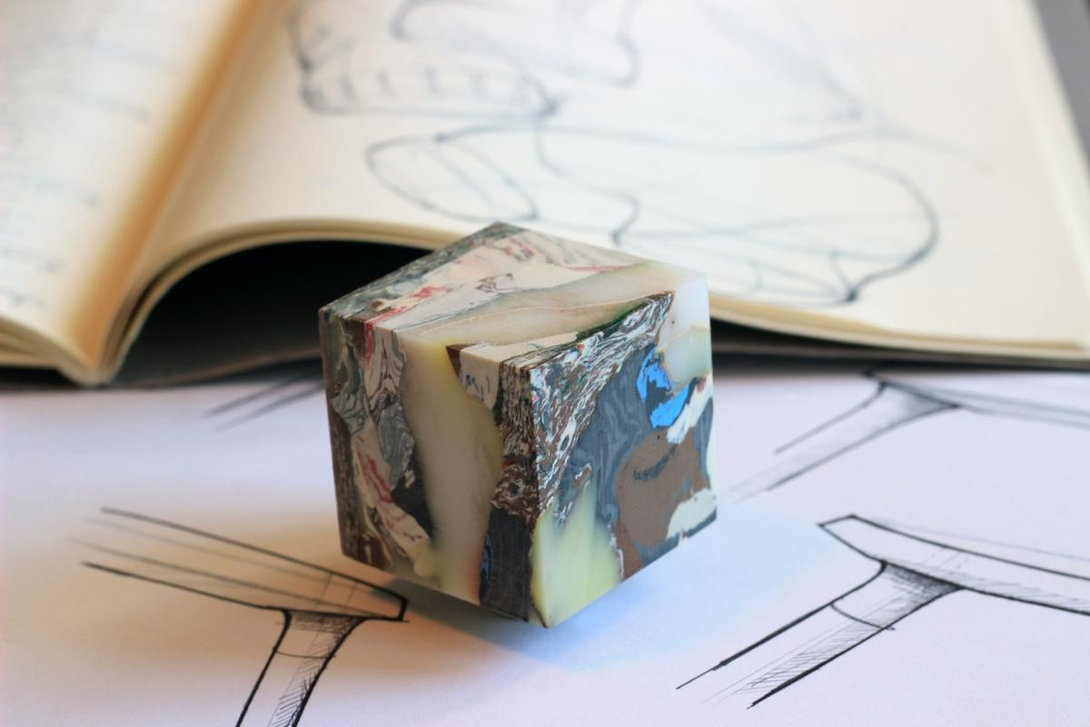 Carter Zufelt's method creates finished products that look more like carved marble than recycled plastic