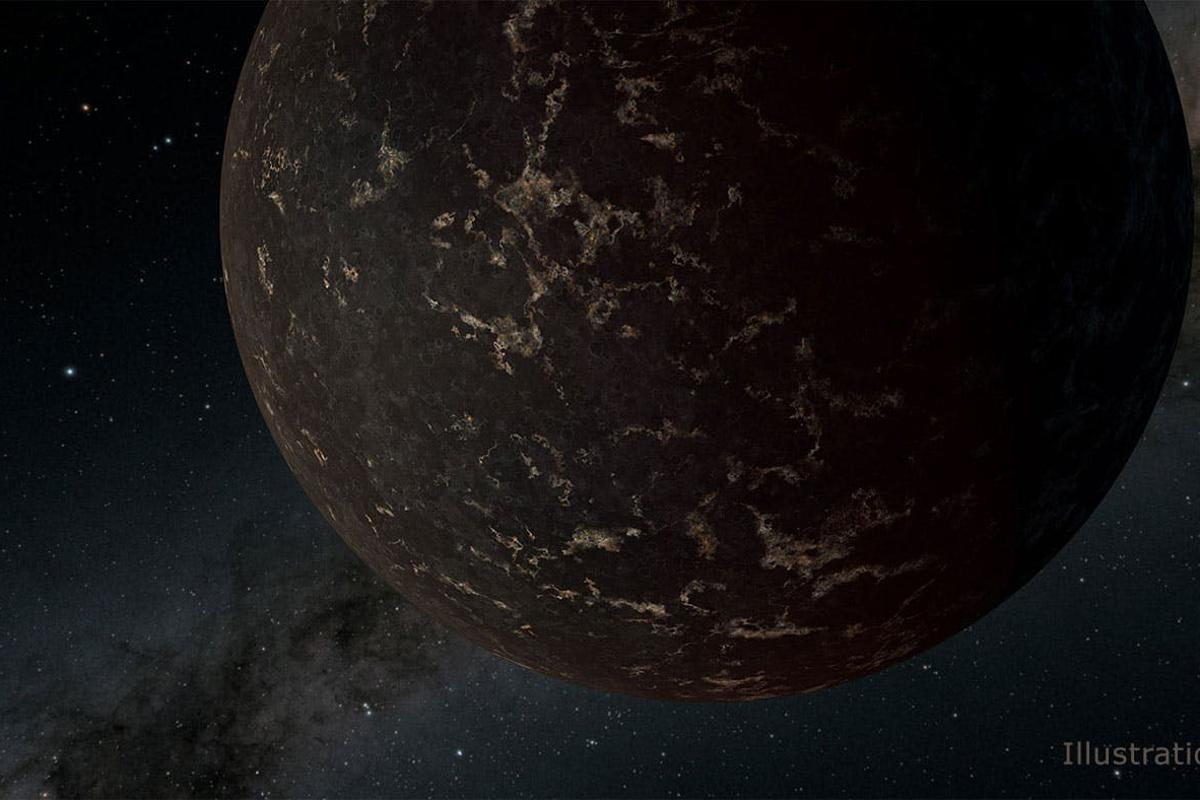 Artist's concept of the exoplanet LHS 3844b, which is 1.3 times the mass of Earth and orbits an M dwarf star