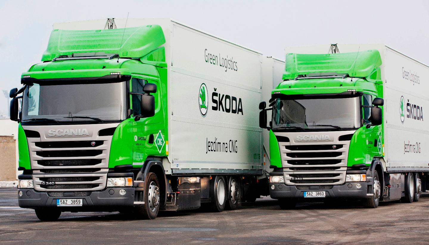 The CNG trucks being used by Skoda