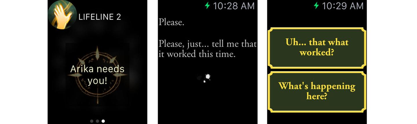Apple Watch screenshots from the choose-your-own-adventure game Lifeline 2