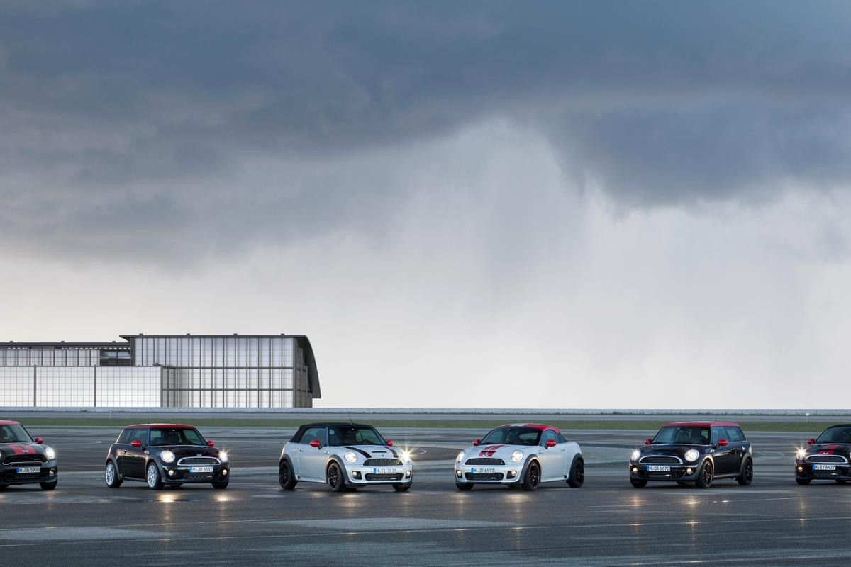 All of the John Cooper Works MINI models lined up