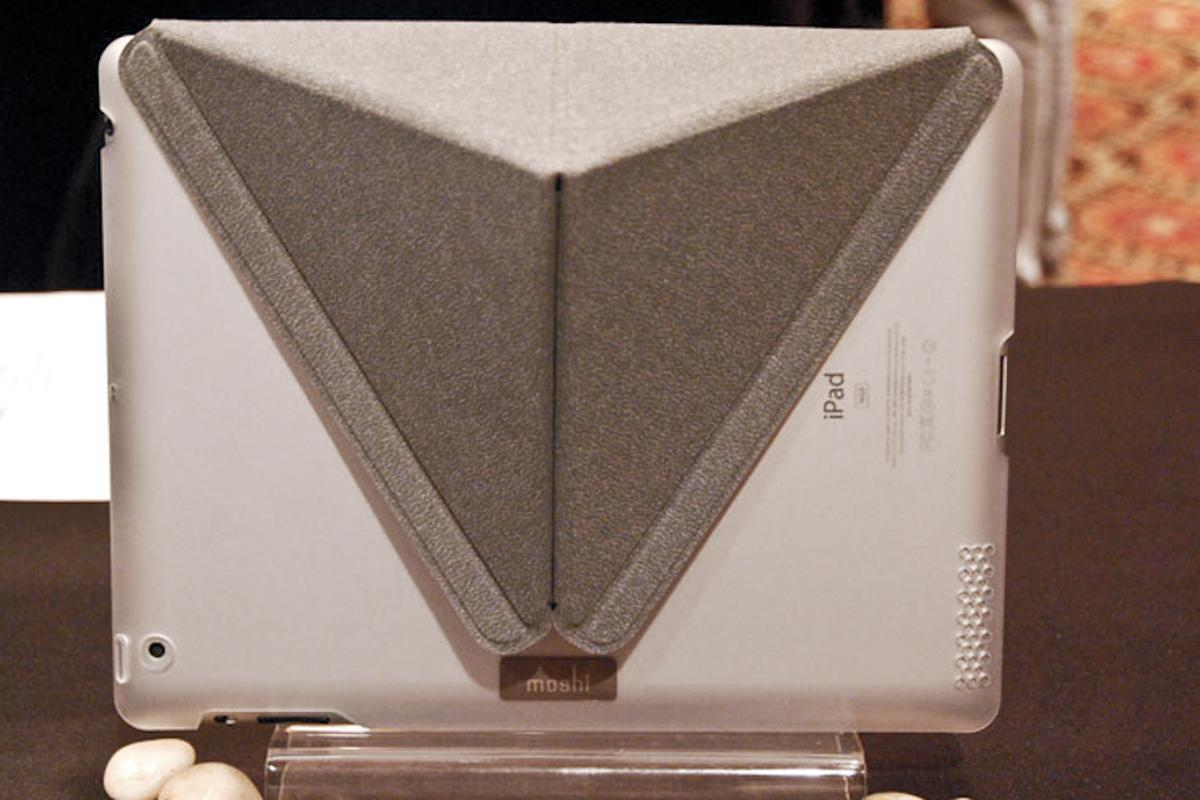 The Moshi iGlaze with VersaCover folds up elegantly to prop up the iPad