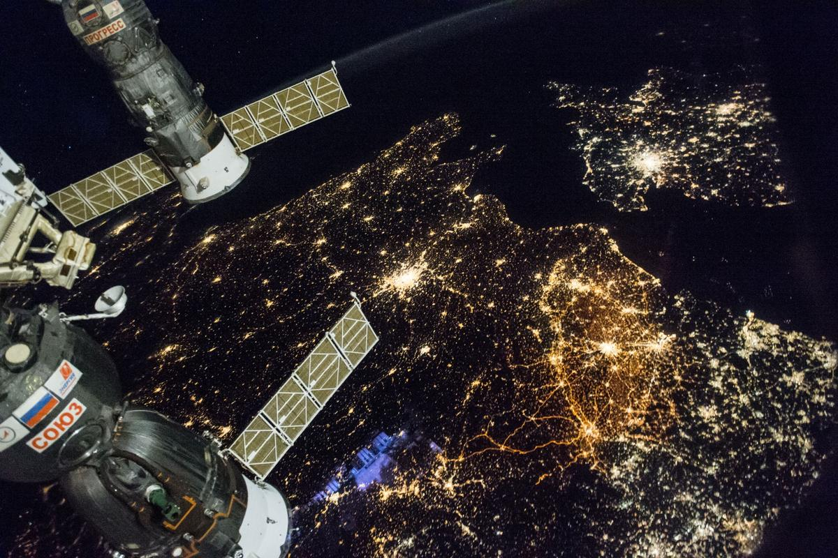 Western Europe as seen on a November night in 2016. England and Wales can be seen on the upper right of the shot, with Paris visible in the center and Belgium and the Netherlands to the middle-right