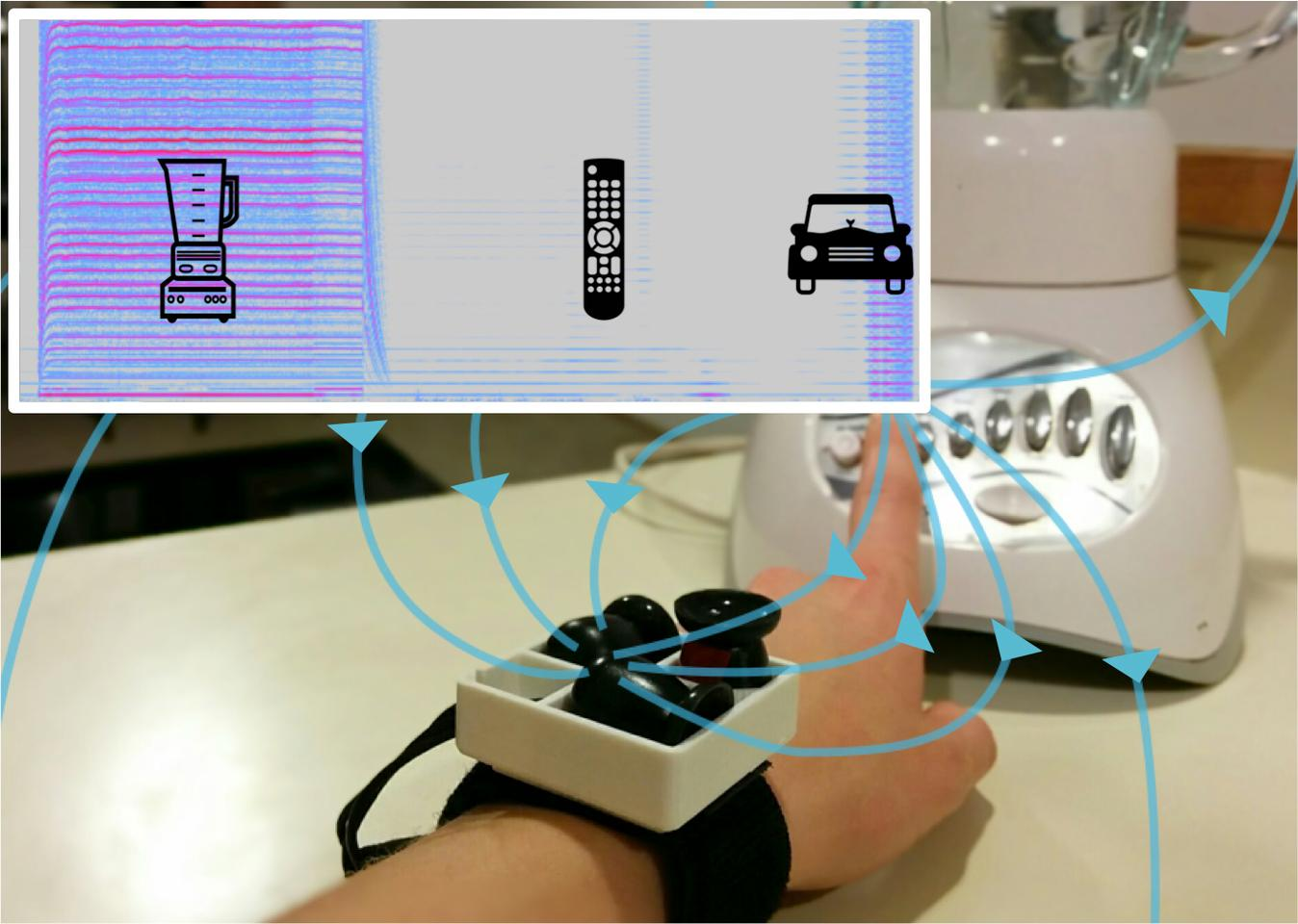 The MagnifiSense prototype detects what electronic devices and motor vehicles an individual is interacting from their unique electromagnetic signatures