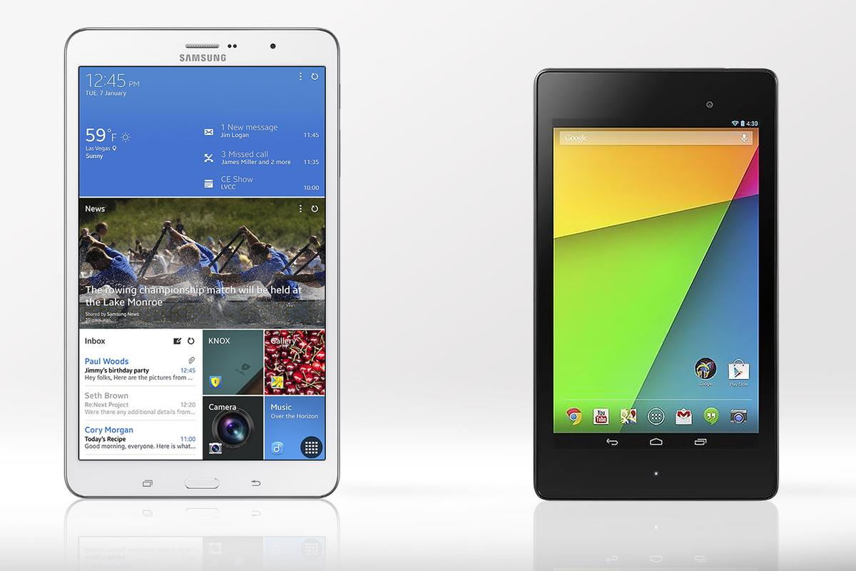 Gizmag compares the features and specs of the Samsung Galaxy Tab Pro 8.4 and Google/Asus Nexus 7
