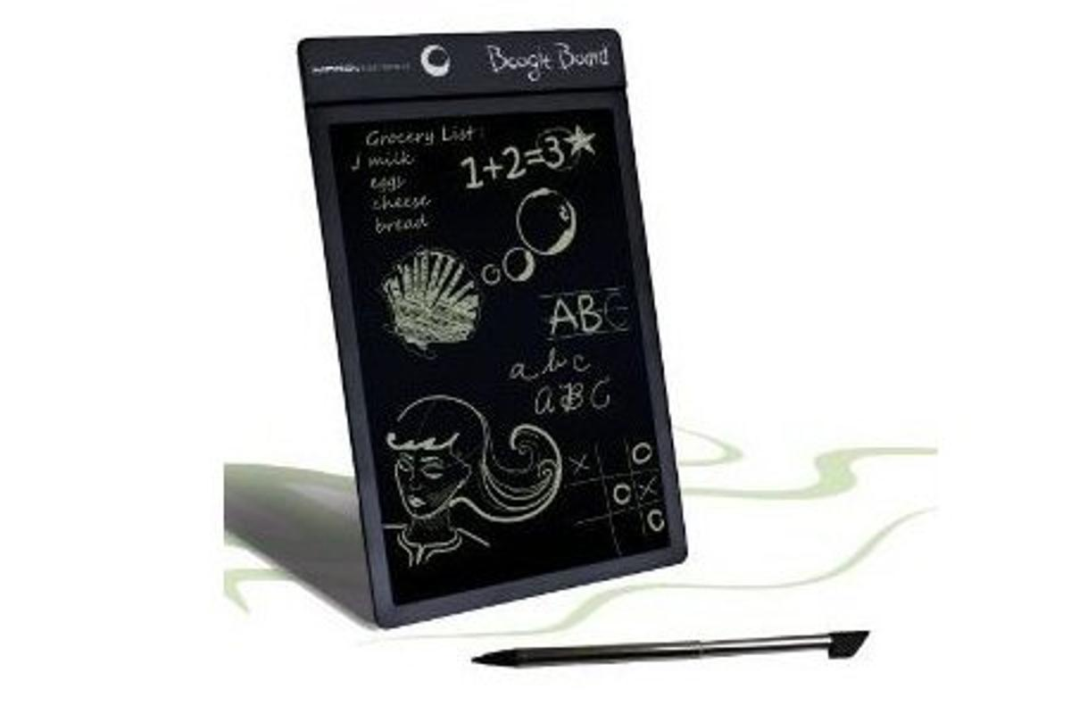 The Boogie Board is a multi-purpose paper replacement LCD note pad which uses novel technology to retain a drawn image without any power