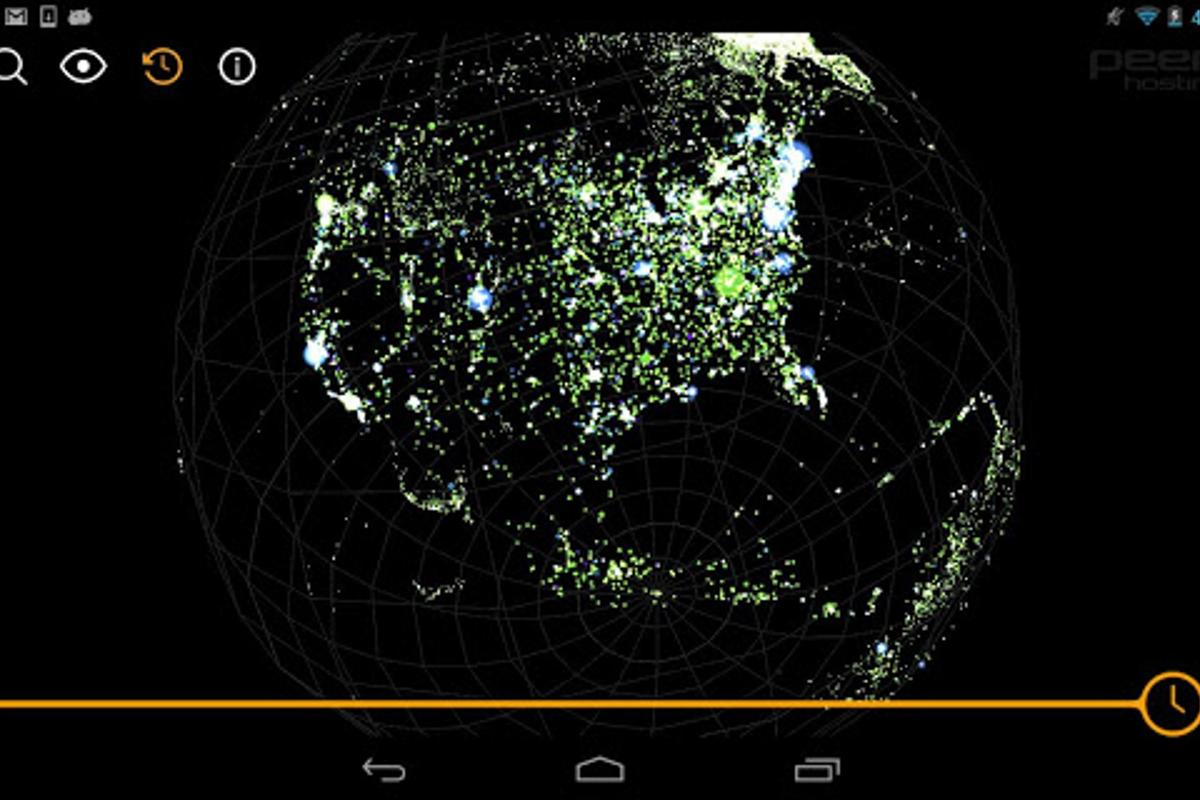 The Map of the Internet app's Global view shows the state of the internet, past, present and future