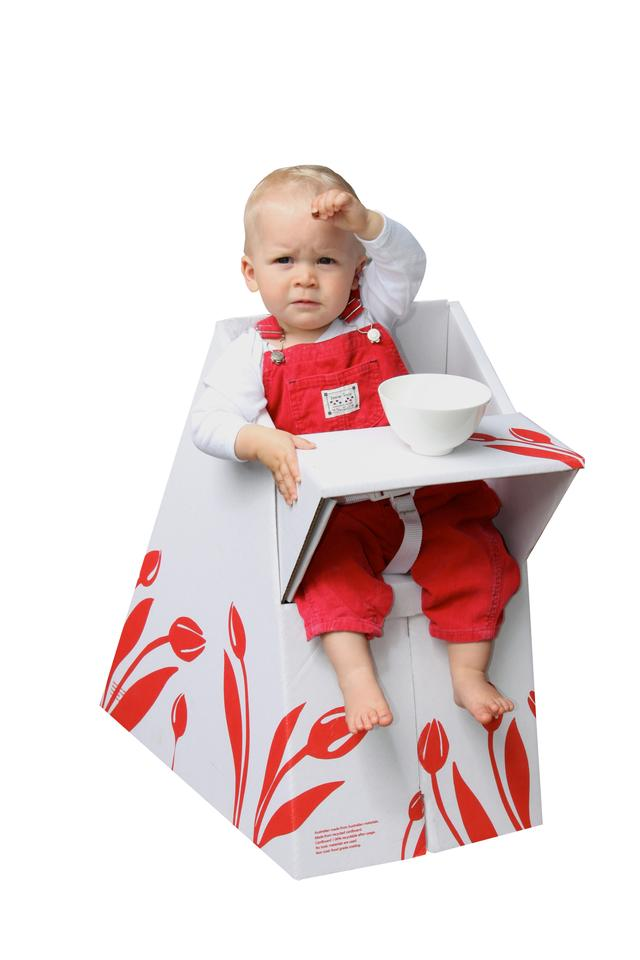The Belkiz Feedaway is a portable, recyclable baby chair that is perfect for visits to grandparents or for traveling