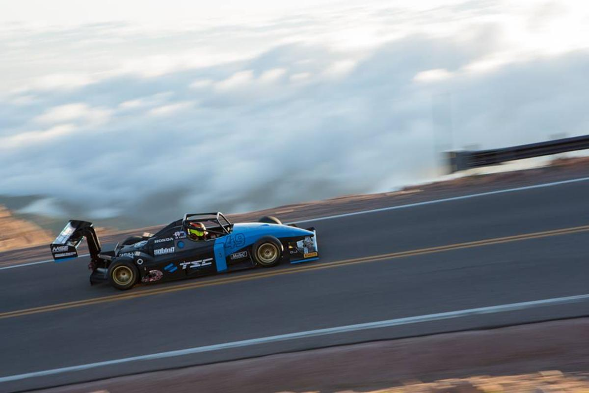 Robin Shute, this year's winner, ascends the Pikes Peak racetrack above cloud level