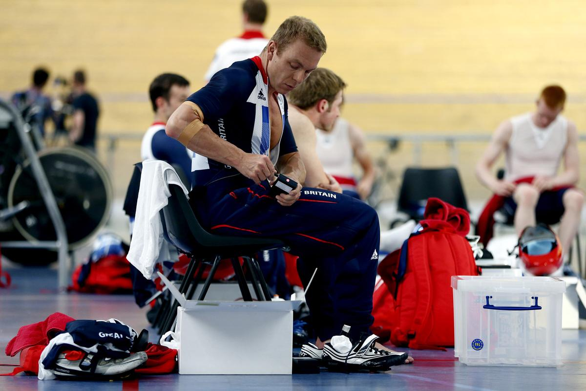 """British Olympic cyclist Sir Chris Hoy turns up the heat on his """"hot pants"""""""