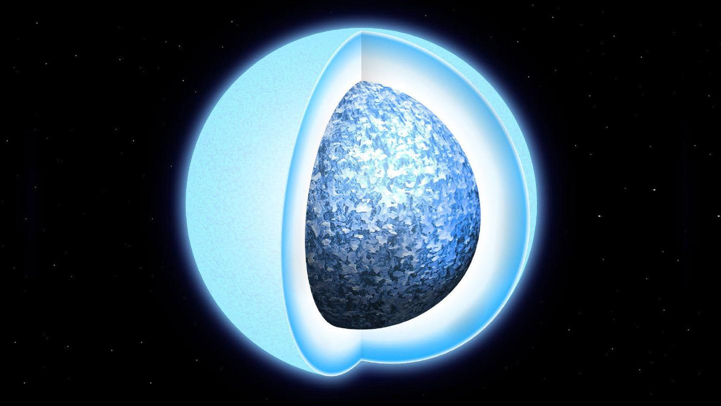 Artist's impression of a white dwarf undergoing crystallization