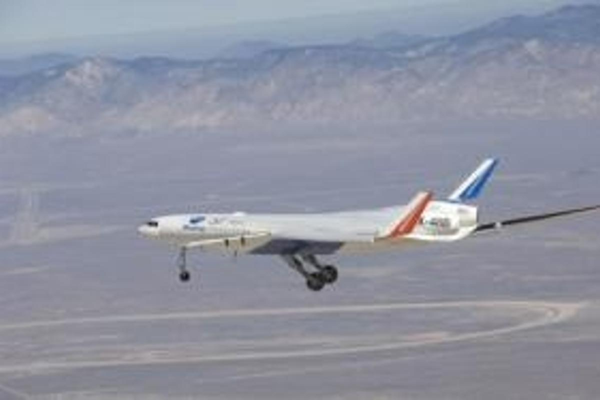 Boeing's Blended-Wing Body (BWB) X-48B prototype completed its first test flight last week. Photo courtesy of NASA.