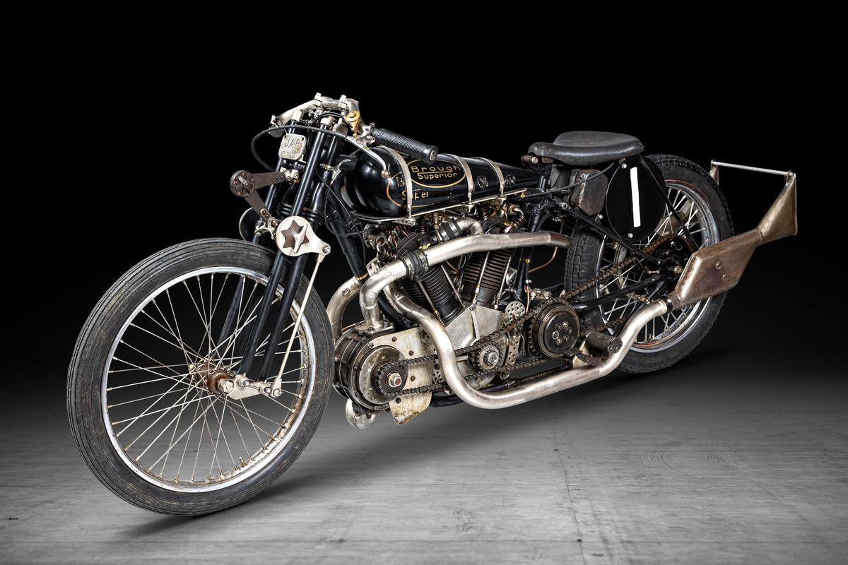 This Brough Superior SS100 1,000cc Supercharged Special Re-Creation is estimated to sell for between $170,400 to $241,400 (£120,000 to £170,000) at Bonhams' Three-day Summer Motorcycle Sale on 2-4 July, 2021
