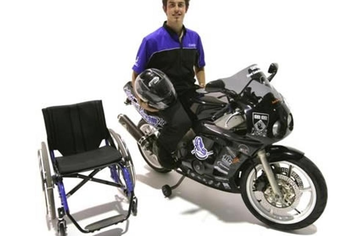 Darren Lomman aboard his prototype Dreamfit motorcycle for paraplegics.