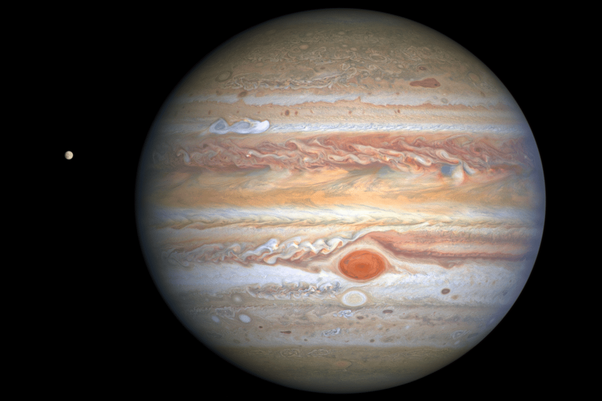 Snapped by Hubble on August 25, 2020, this image shows Jupiter's cloud bands and Great Red Spot in detail and reveals a new storm brewing, visible as a white smear in the upper left