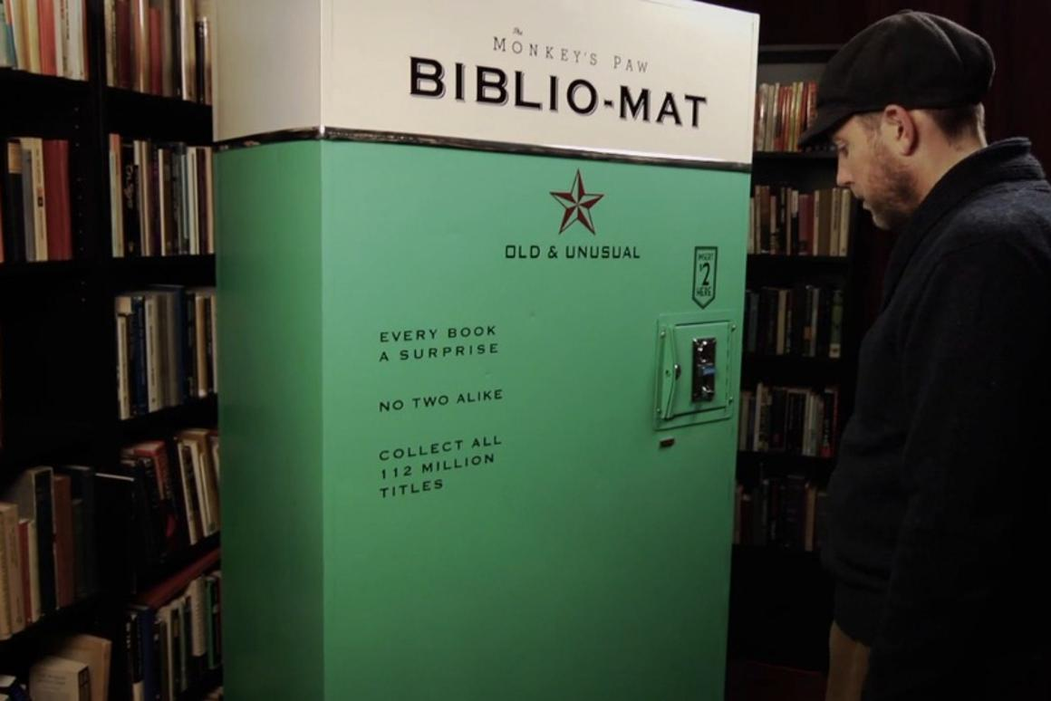 Biblio-Mat requires $2 to be inserted in the coin slot for every book you want to acquire