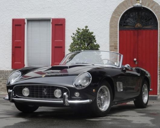The Ferrari 250 GT SWB California Spyder runs a 280bhp, 2,953cc, single overhead camshaft V-12 engine with three Weber 40 DCL 6 carburettors, driving through a four-speed gearbox.Image: RM Auctions