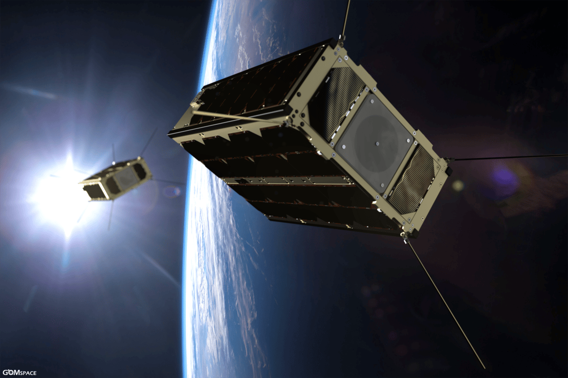 Artist's impression of GomX-4A & 4B pictured in orbit soon after launch