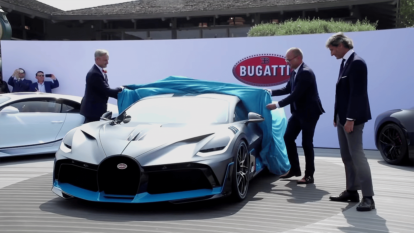 Bugatti's top brass pulls the covers off the Divo at the Quail in Monterey