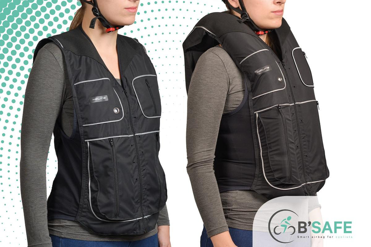 The B'Safe cycling vest, in its regular and inflated states