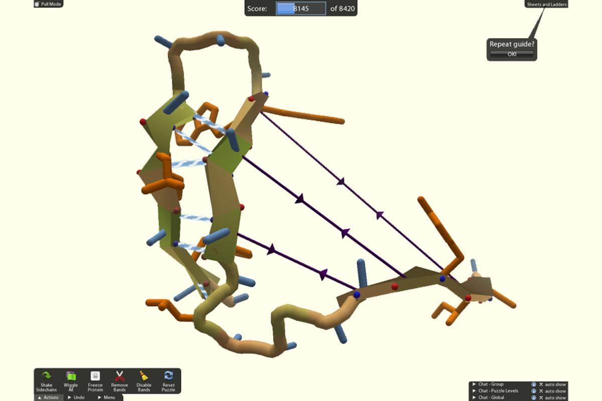 Foldit players can use different tools to interactively twist, jiggle and reshape proteins - in this picture, a player uses rubber bands (purple) to pull together two sheets, or long flat regions of the protein