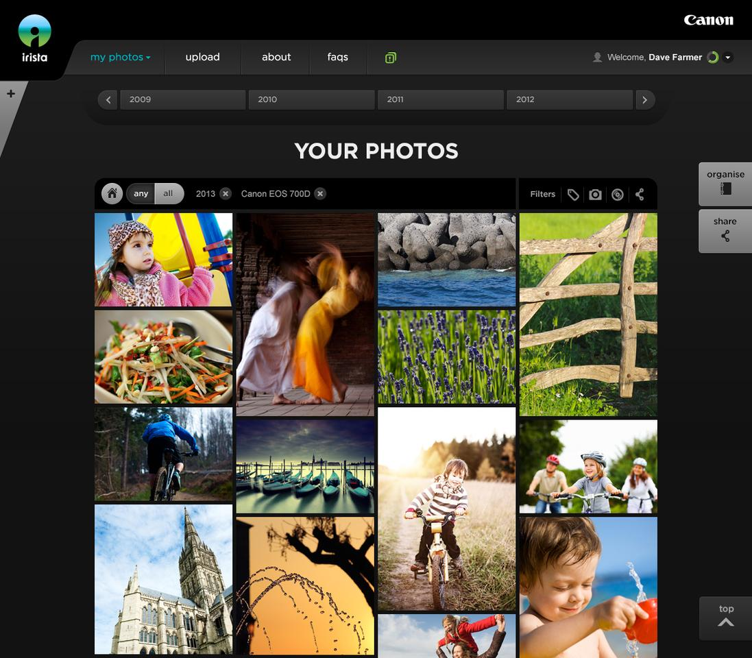 The Flickr-like tiled UI has a tweakable timeline tunning across the top, and share and organize buttons to the right