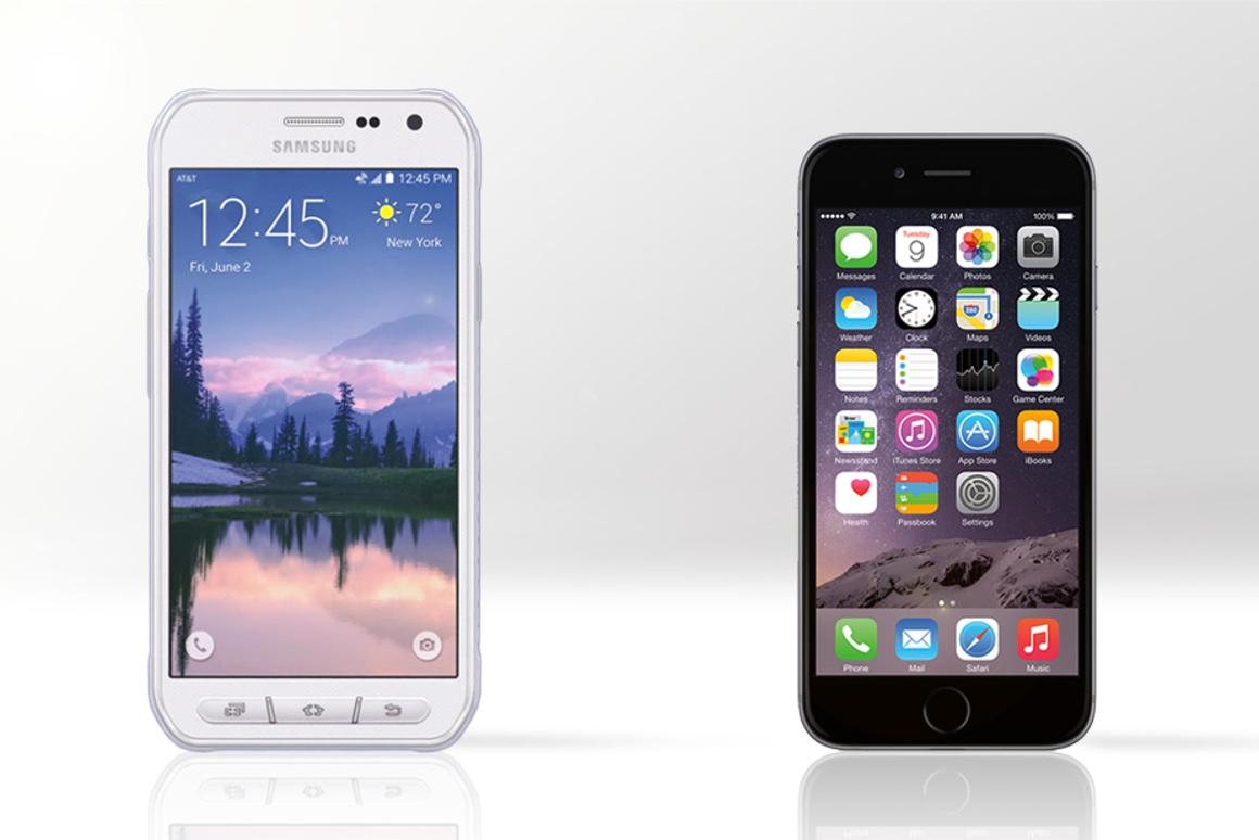 Gizmag compares the Samsung Galaxy S6 Active (left) to the Apple iPhone 6