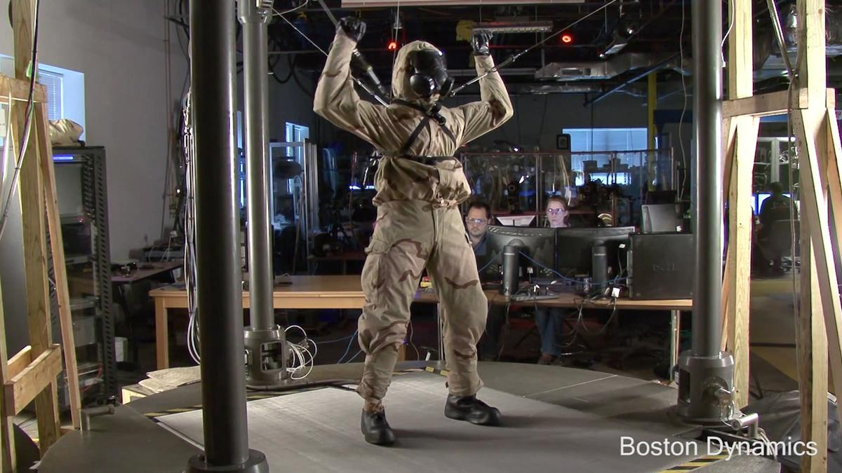 Boston Dynamics' PETMAN stretches realistically to test the chemical protection suit