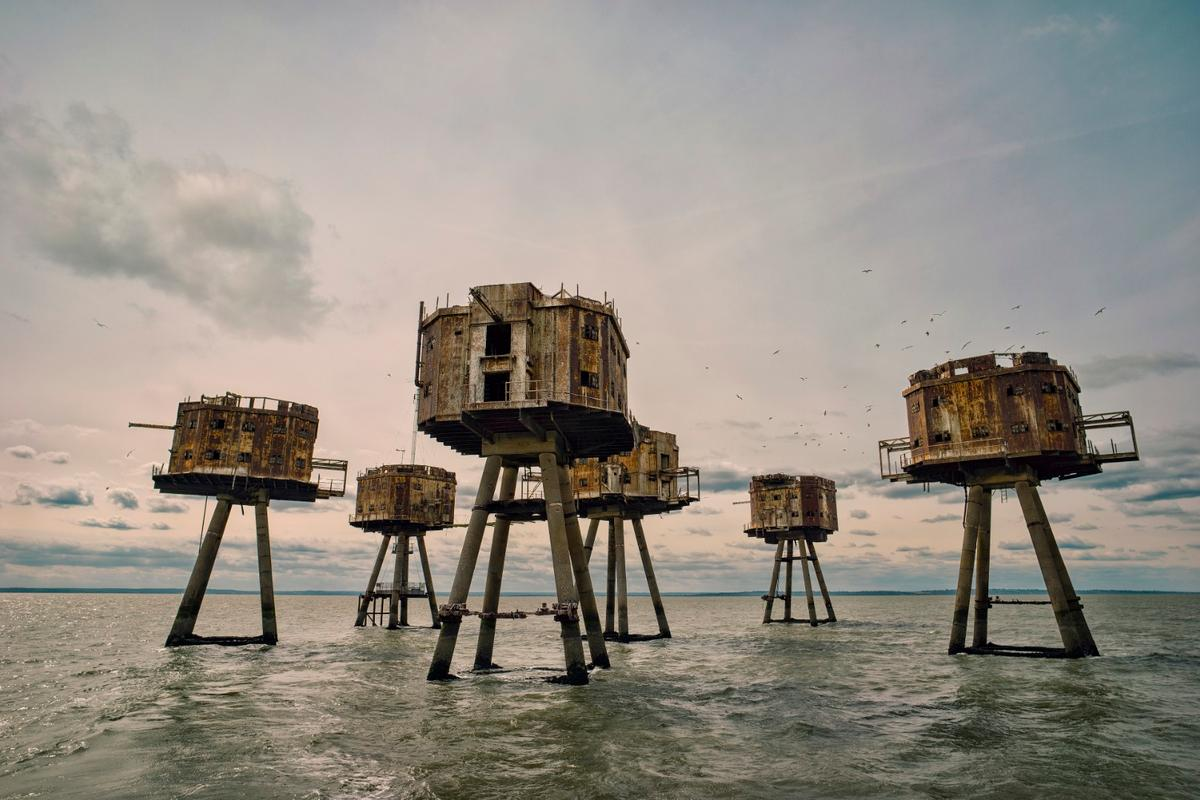 "English History Winner - Red Sands Sea Forts, Thames Estuary. ""Part of the WW2 fortification of Great Britain. These forts were built to aid the protection of London from air attacks in WW2."""