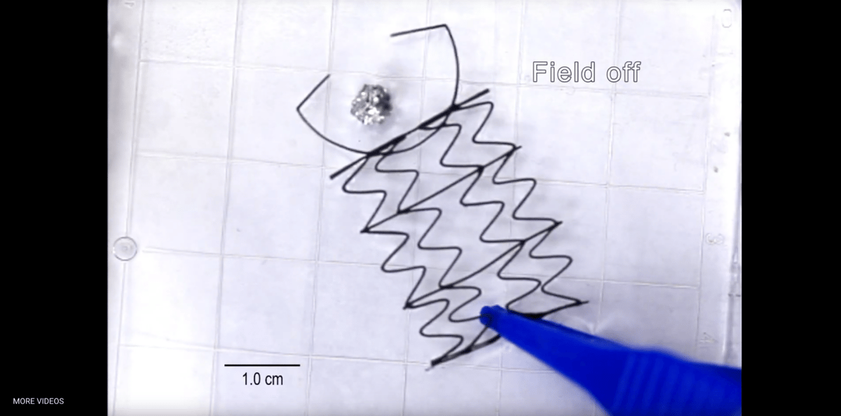 This claw robot can retract when a magnetic field is switched on