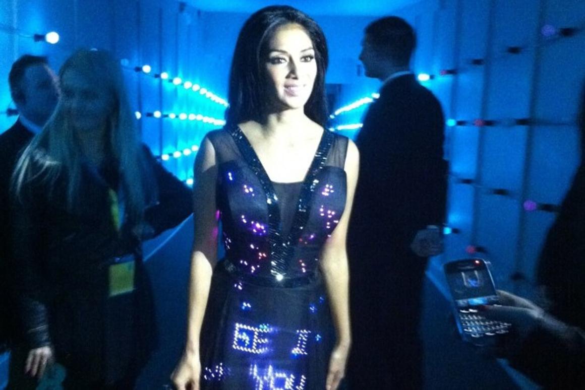 Nicole Scherzinger wearing CuteCircuit's Twitter dress at EE's 4G launch