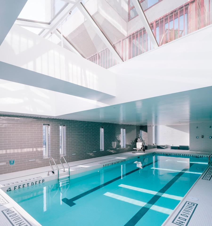 2222 Jackson's indoor pool is topped by a glazed roof to offer natural lighting inside