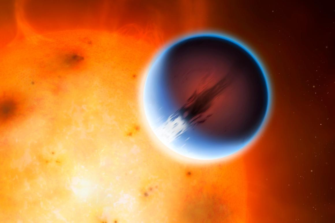 The planet HD 189733 in front of its parent star with a belt of wind around the equator travelling at 5,400 mph (8,700 km/h)
