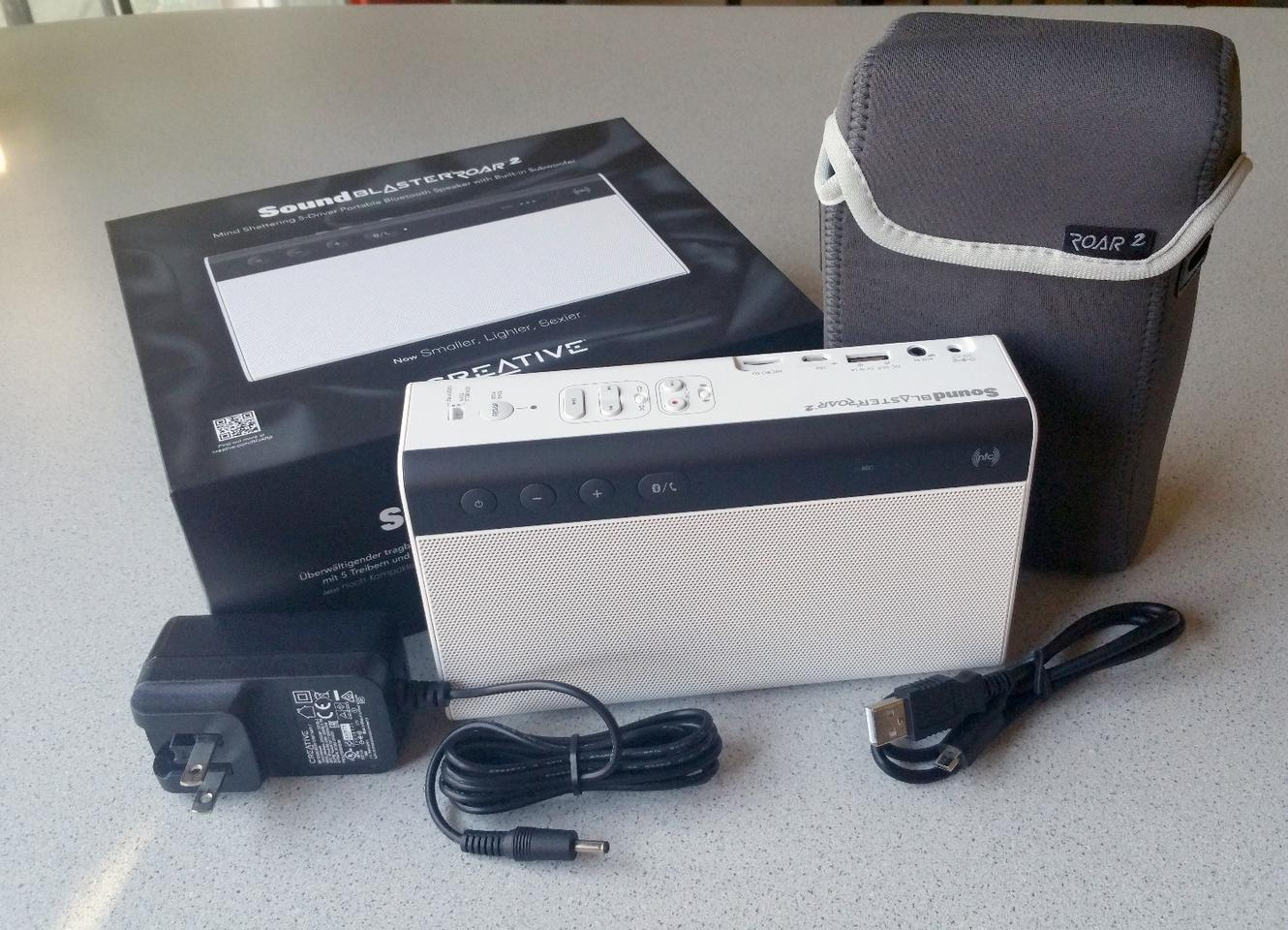 Creative Labs keeps it simple, including only wall adapter and USB cable with the Sound Blaster Roar 2 speaker (carrying case sold separately)