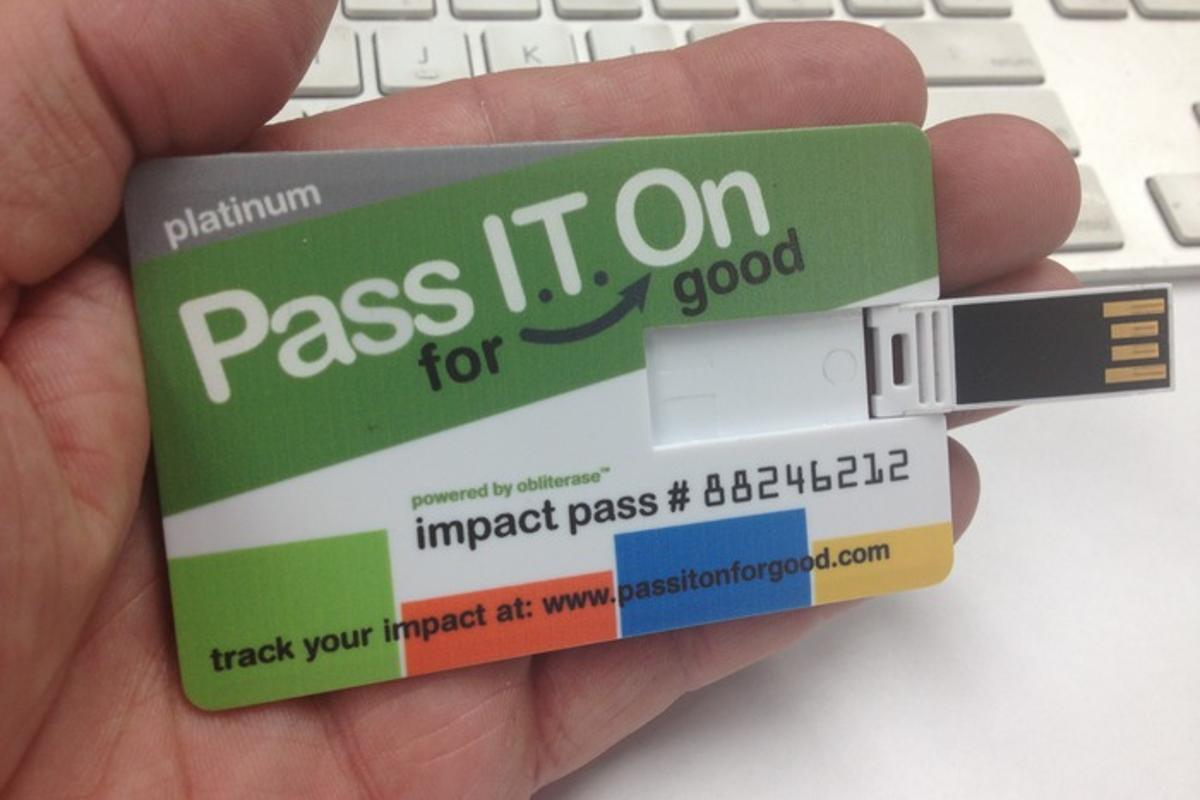 The Pass IT On For Good USB card erases an old computer's hard drive, and installs new educational software