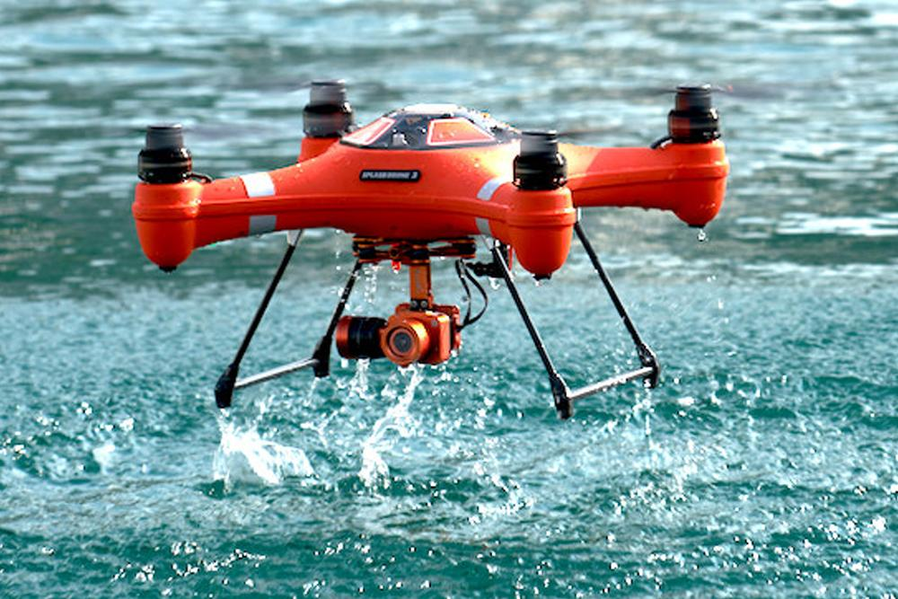 The Splash Drone 3 lifts off from a water landing