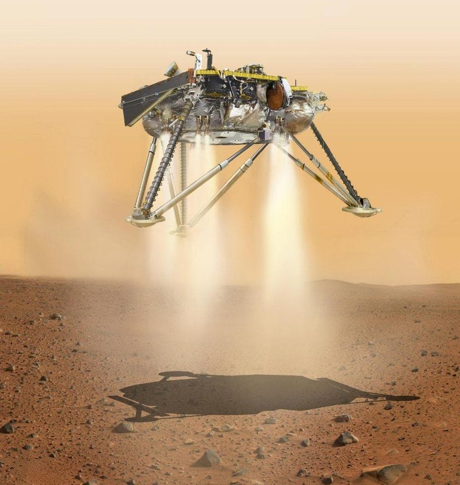 Render of the InSight lander touching down on Mars