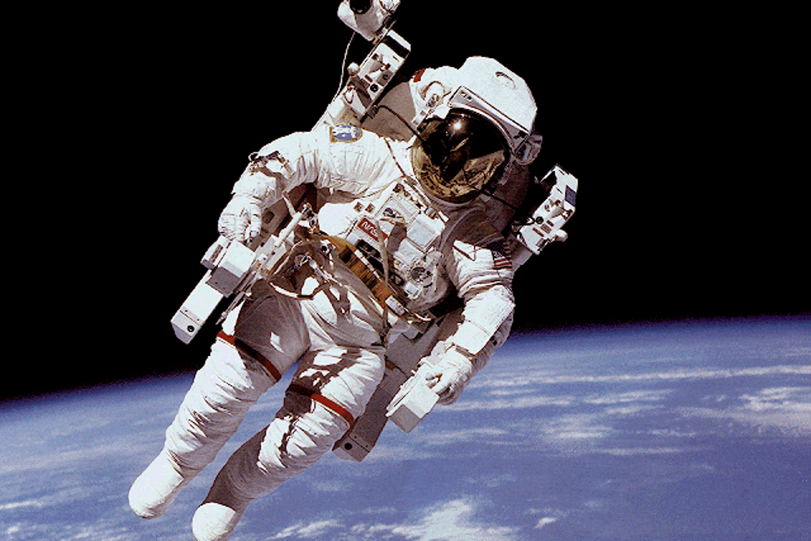 The V2Suit technology provides a sense of simulated gravity that is lacking in this conventional NASA spacesuit (Photo: NASA)