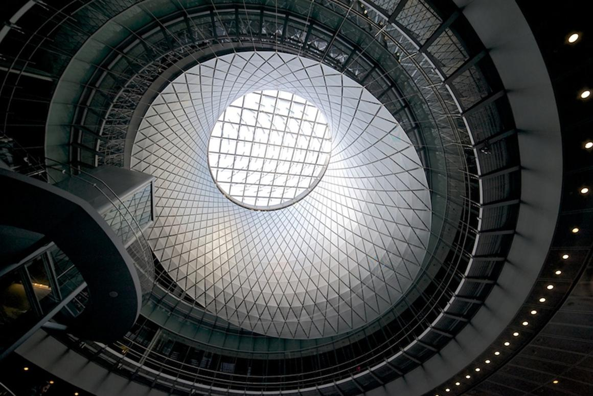 The Fulton Center transit hub in New York has a huge reflective skylight and dome (Photo: Leimbach/Grimshaw)