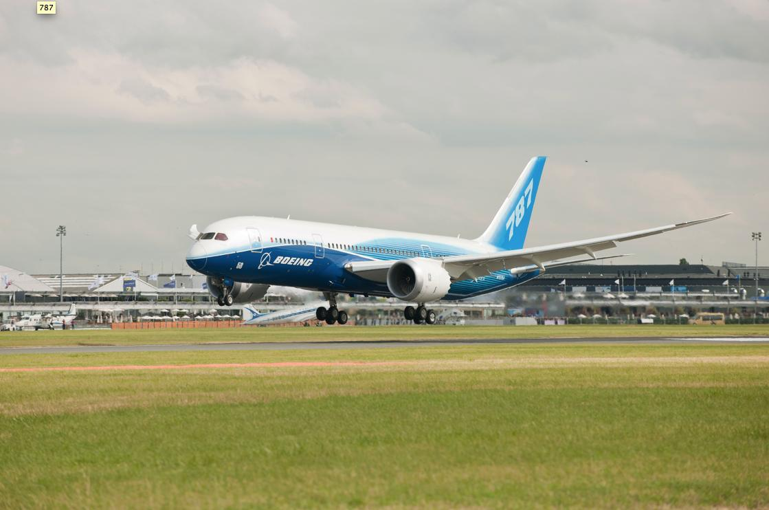 ZA001, the first 787 Dreamliner, arrives at Le Bourget Air Field for the Paris Air Show (Photo: Boeing)
