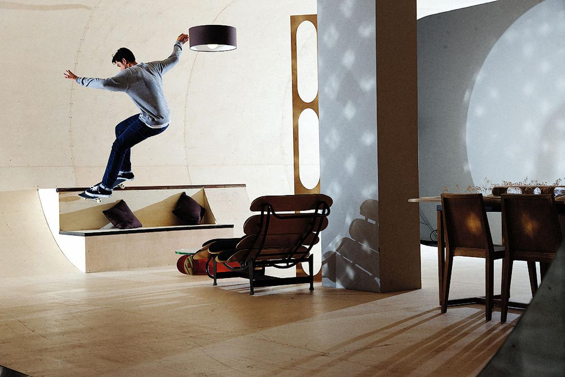 The PAS House is a dwelling meant as a tribute to the skateboarding lifestyle, featuring 'skateable' walls and furniture.