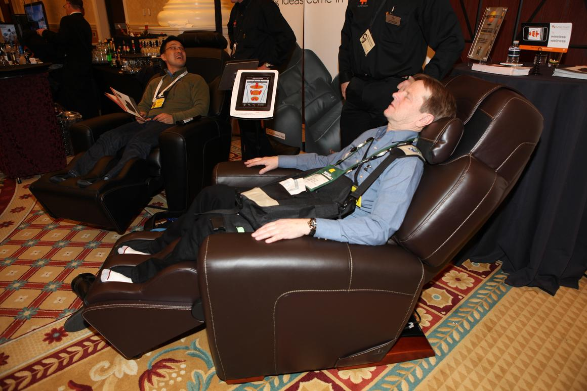 The AcuTouch 9500 massage chair provides welcome relief for those at CES 2011