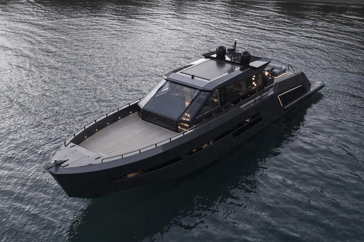 The Mazu 82 includes a glass deckhouse and open, multipurpose foredeck