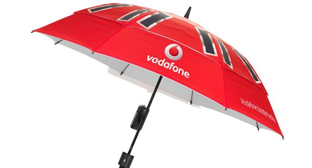 The Vodafone Booster Brolly uses solar panels to power your mobile phone and an antenna to boost its signal