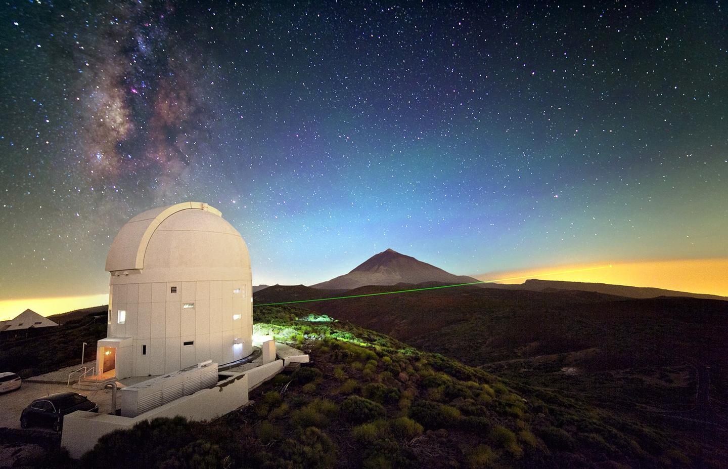 A laser being fired from an observatory on Tenerife