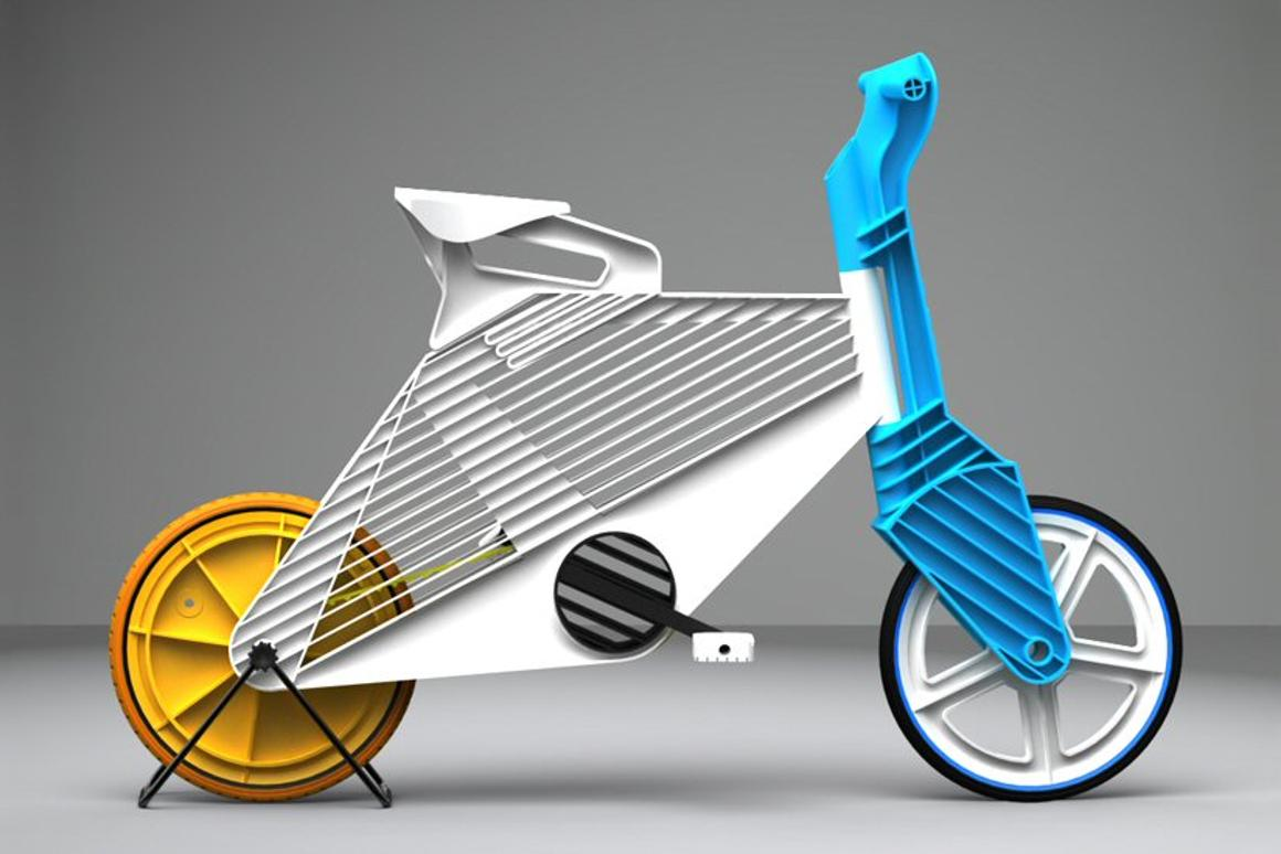 Israeli industrial design student Dror Peleg has created a colorful bike that's made up of snap together, injection molded, recycled plastic components called Frii
