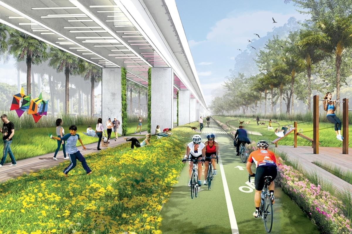 A proposed concept for the Metrorail at the University of Miami on the Underline (Image: Anna Baez)
