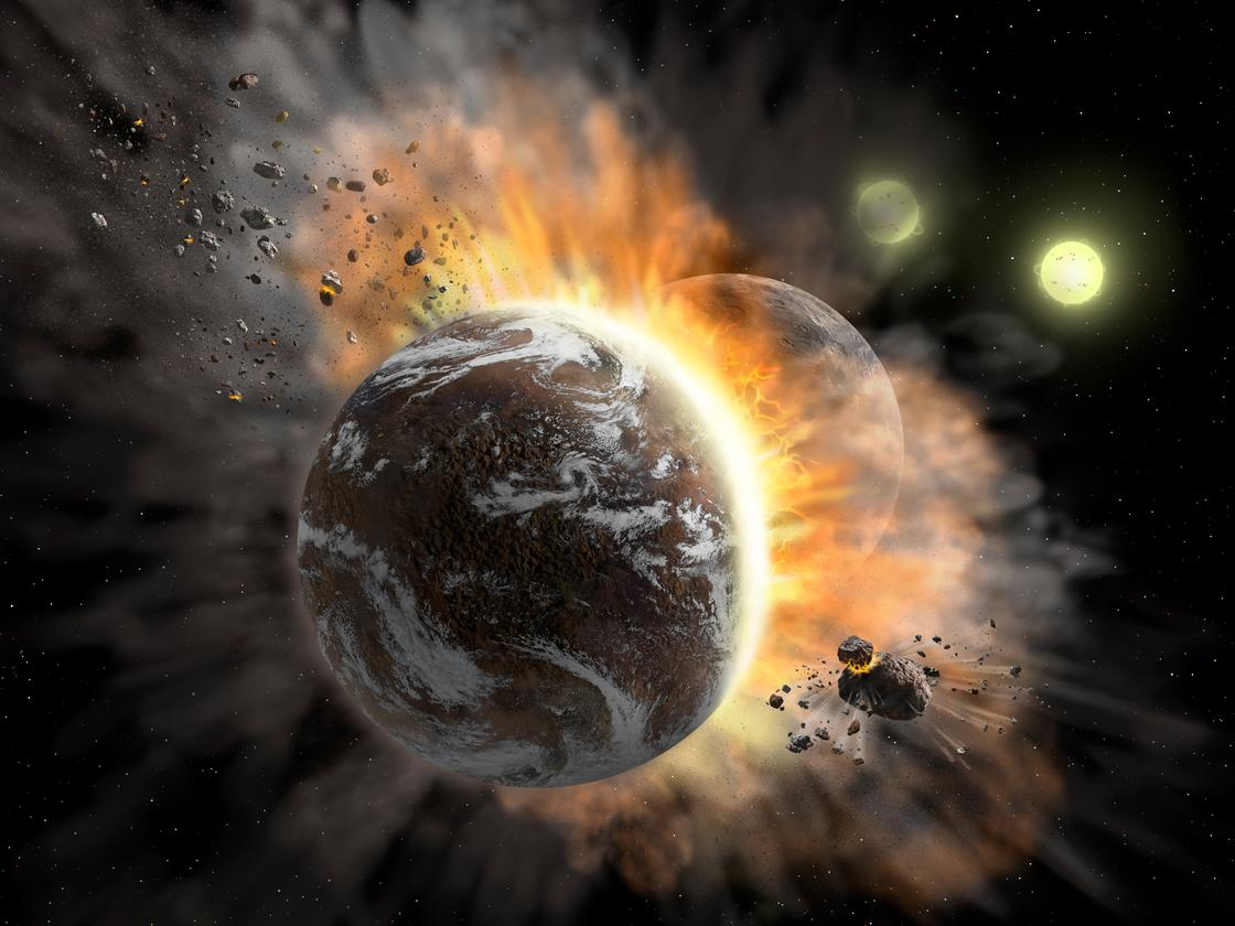 An artist's impression of a planetary collision in the system BD +20 307