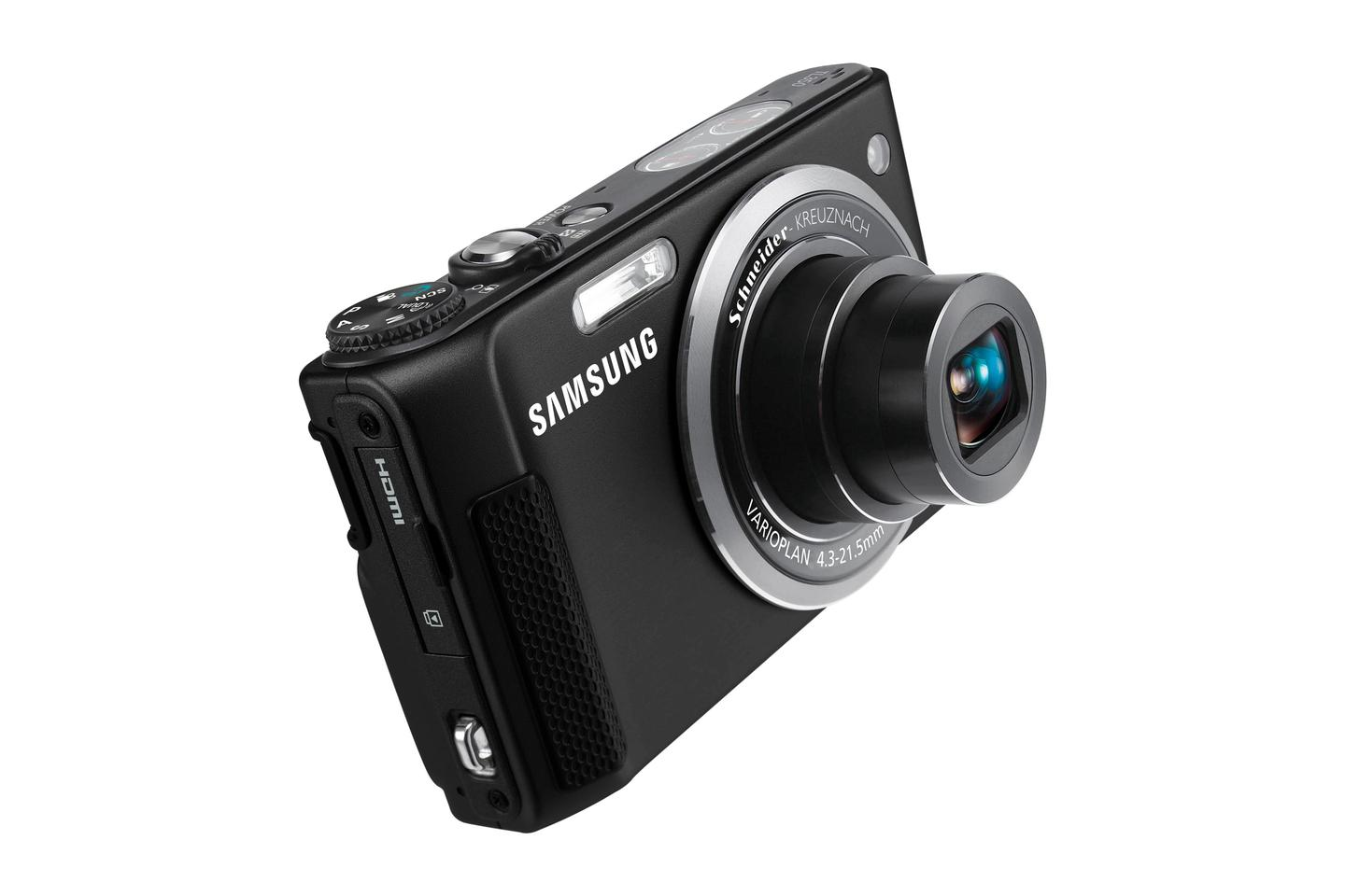 Samsung's TL350 features a 10.2MP CMOS sensor, a 24mm ultra wide angle Schneider KREUZNACH lens with five times optical zoom
