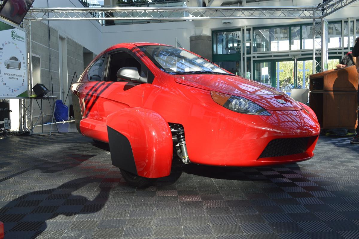 The Elio Motors P5 prototype, at its Los Angeles premiere